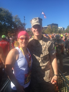 Marisa after finishing the Marine Corps Marathon